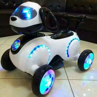 El espacio de los niños del perro eléctrico del triciclo de la...