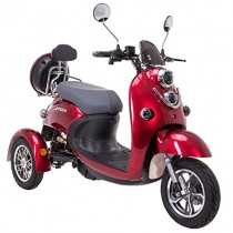 Elegante escúter eléctrico tipo triciclo recreativo, 60 V, 100 Ah, 500 W rojo