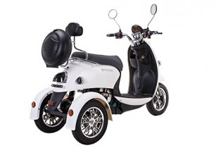 Elegante escúter eléctrico tipo triciclo recreativo, 60 V, 100 Ah blanco