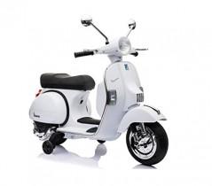 LT887 Moto eléctrica PIAGGIO para niños VESPA PX con ruedas 12V luces led – Blanco
